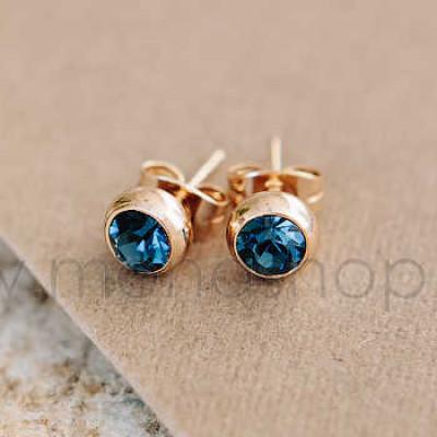 Серьги Презент с синими кристаллами Сваровски