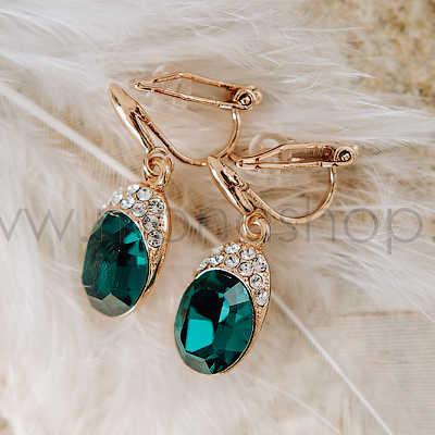 Клипсы «Тайна» с зелеными кристаллами Сваровски