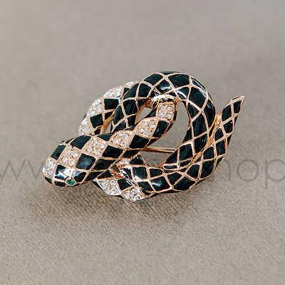 Брошь Черная змея с эмалью и австрийскими кристаллами