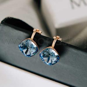 Клипсы «Чаровница» с синими кристаллами Сваровски