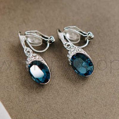 Клипсы «Тайна» с синими кристаллами Сваровски