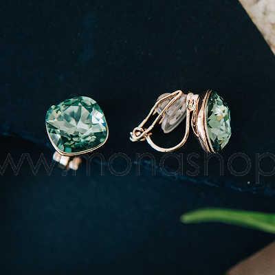 Клипсы Чаровница с зелеными кристаллами Сваровски