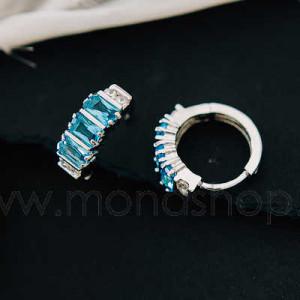 Серьги-кольца «Голубая лагуна» с цирконием