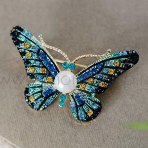 Брошь Синяя бабочка с жемчугом и кристаллами Сваровски