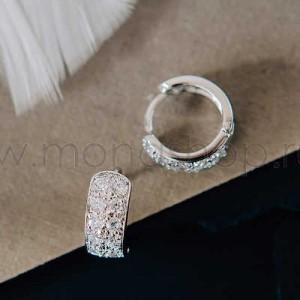 Серьги-кольца «Хрустальная дорожка» с белыми циркониями