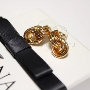 Серьги «Сплетение золотых колец»
