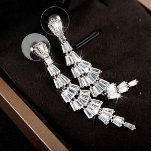 Серьги-ромбы «Снежная королева» с циркониями