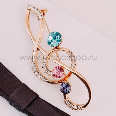 Брошь Скрипичный ключ с австрийскими кристаллами