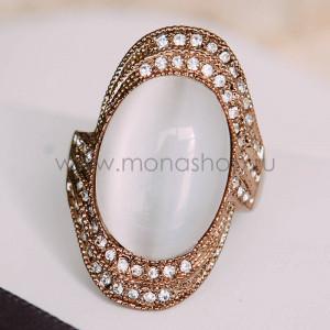 Кольцо «Леди» винтажное с опалом и кристаллами