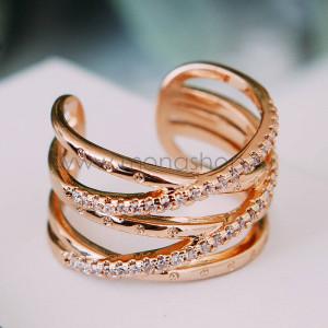 Кольцо Сети любви с австрийскими кристаллами