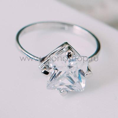 Кольцо «Только ты» с белым квадратным цирконием