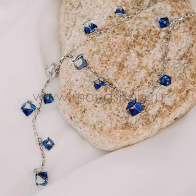 Колье-подвеска «Миражи» с синими хамелеонами Сваровски