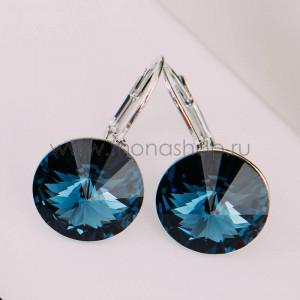 Серьги Чародейка с синими кристаллами Сваровски