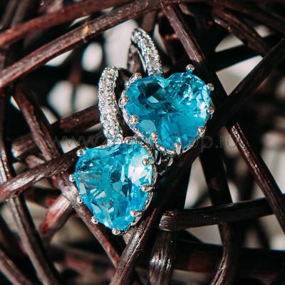 Серьги Холодное сердце с голубыми циркониями
