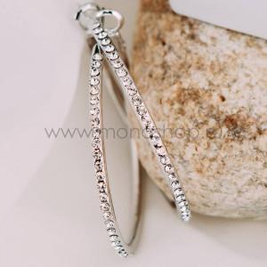 Серьги-кольца Кокетка с австрийскими кристаллами, покрытие - родий