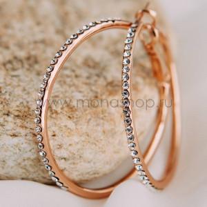 Серьги-кольца Кокетка с австрийскими кристаллами, покрытие - золото