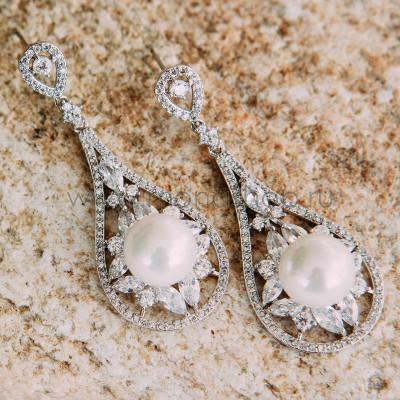 Серьги-подвески Натали с жемчугом и кристаллами