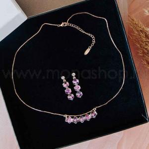 Комплект «Миражи» с фиолетовыми кубиками Сваровски