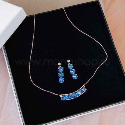 Комплект «Миражи» с синими кубиками Сваровски