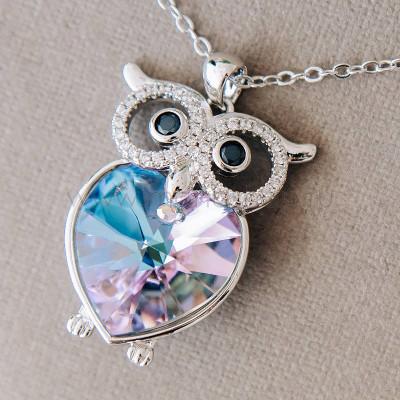 Кулон Мудрая сова с фиолетовым кристаллом Swarovski