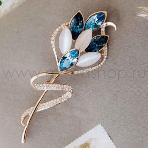 Брошь «Сонет» с синими кристаллами и опалом