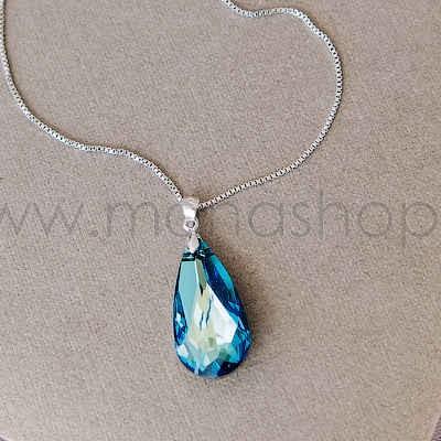 Кулон «Хамелеон» с синим камнем Сваровски