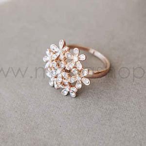 Кольцо «Летнее настроение» в виде цветов с белыми кристаллами