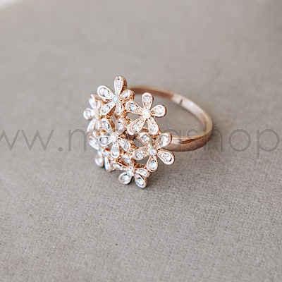 Кольцо Летнее настроение в виде цветов с белыми кристаллами