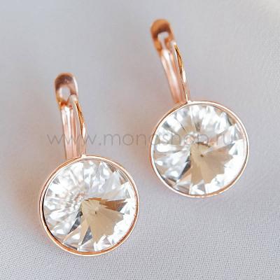 Серьги «Чародейка» с белыми кристаллами Swarovski, покрытие - золото