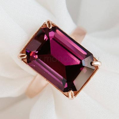 Кольцо Аметистовый цвет с прямоугольным камнем Swarovski