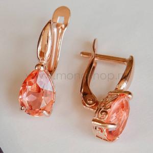 Серьги «Коралловые капли» с кристаллами Swarovski