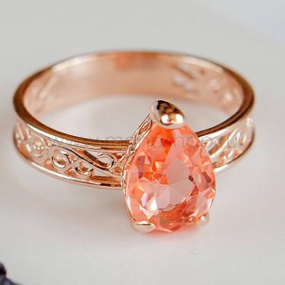 Кольцо «Коралловые капли» с кристаллом Swarovski