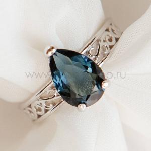 Кольцо «Сапфировые капли» с кристаллом Swarovski