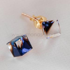 Серьги Миражи с фиолетовыми кристаллами-хамелеонами Сваровски