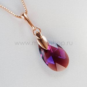 Кулон «Хрустальные капли» с фиолетовым кристаллом-хамелеоном Сваровски