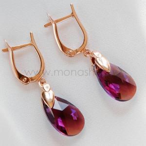 Серьги «Хрустальные капли» с фиолетовыми кристаллами-хамелеонами Сваровски