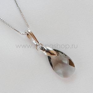 Кулон «Хрустальные капли» с серым кристаллом Сваровски