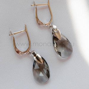 Серьги Хрустальные капли с серыми кристаллами Сваровски
