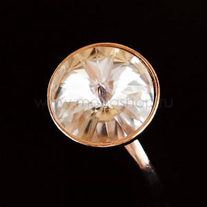 Кольцо «Чародейка» с белым кристаллом Swarovski, покрытие - золото
