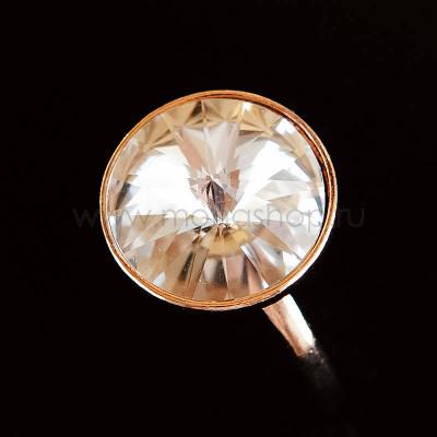 Кольцо Чародейка с белым кристаллом Swarovski, покрытие - золото