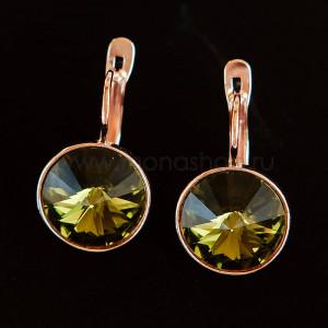 Серьги Чародейка с оливковыми кристаллами Swarovski