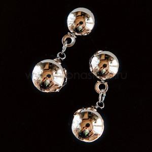 Серьги-подвески «Два шарика», покрытие - родий