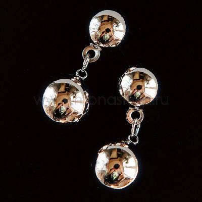 Серьги-подвески Два шарика, покрытие - родий