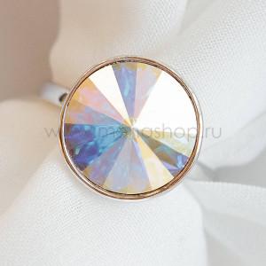 Кольцо «Чародейка» с кристаллом-хамелеоном Swarovski