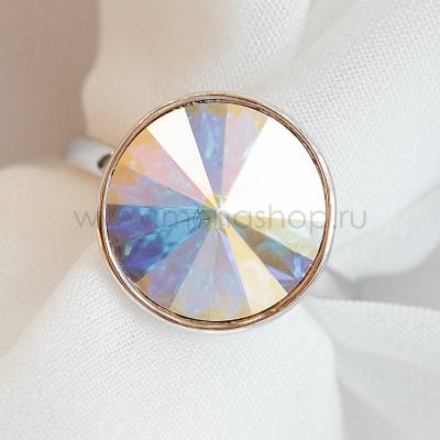 Кольцо Чародейка с кристаллом-хамелеоном Swarovski