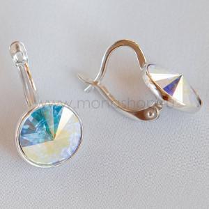 Серьги Чародейка с кристаллами-хамелеонами Сваровски, покрытие - родий