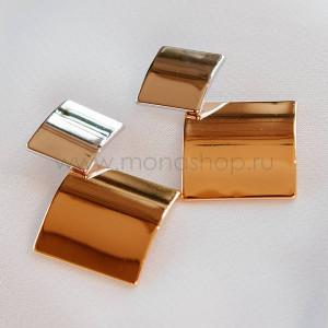 Серьги «Два квадрата», покрытие - золото
