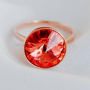 Кольцо Чародейка с красным кристаллом Swarovski