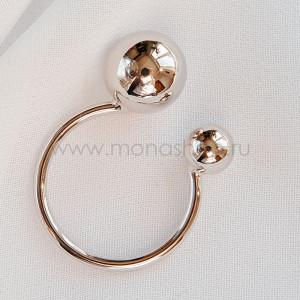 Кольцо разъемное «Два шарика», покрытие - родий