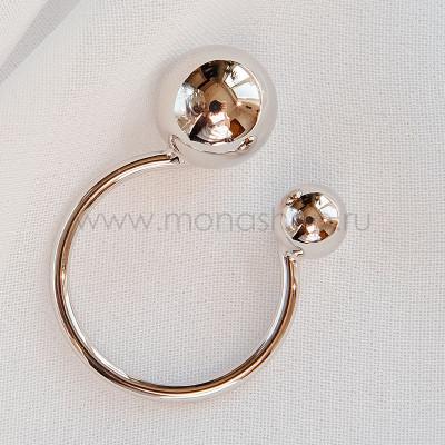 Кольцо разъемное Два шарика, покрытие - родий